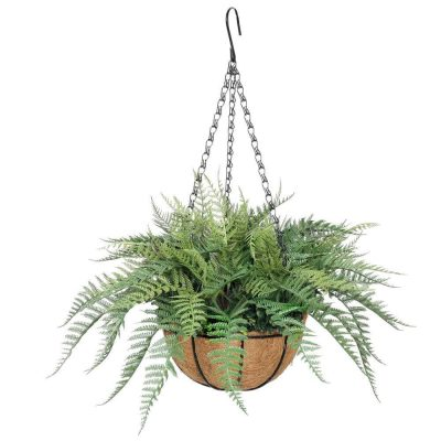 artificial hanging fern basket