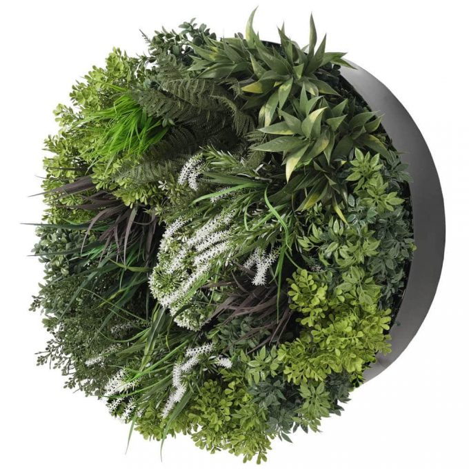 black framed faux vertical garden panel