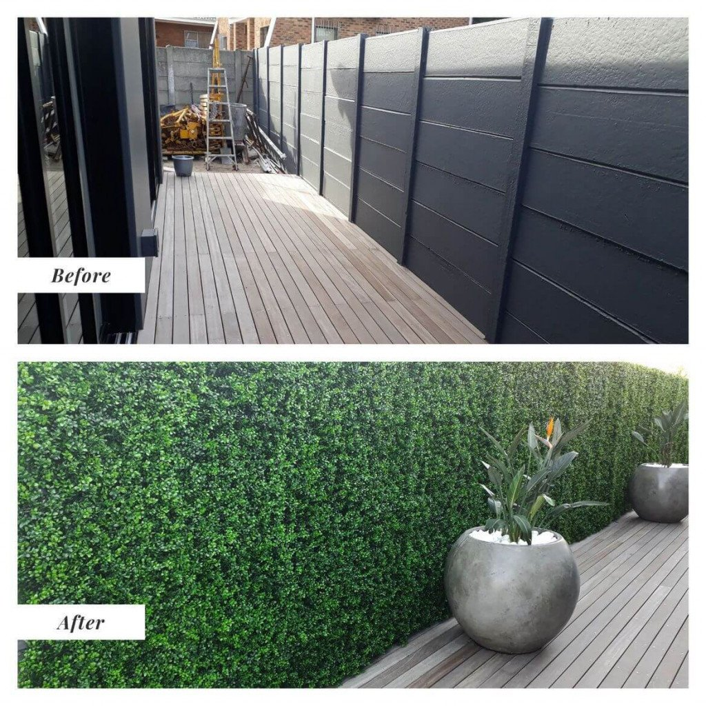 deluxe buxus fake hedge panels installed