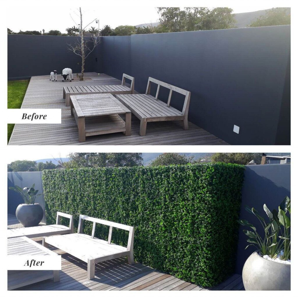 Before and After Pool Side With Artificial Plants