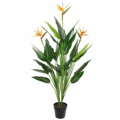 fake bird of paradise with fake flowers
