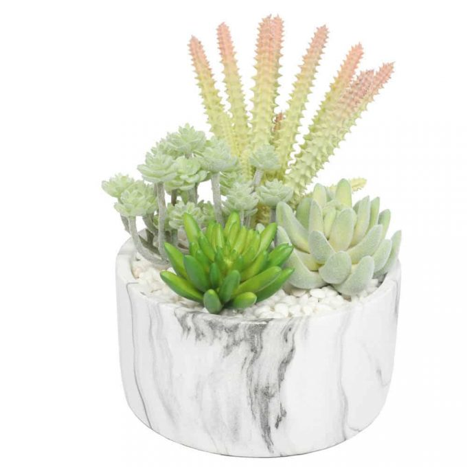 Artificial succulent plant in a decorative pot