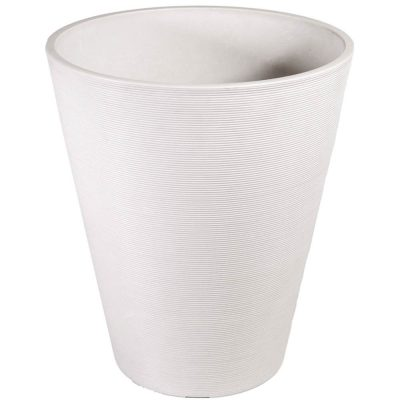 white textured plastic pot planter