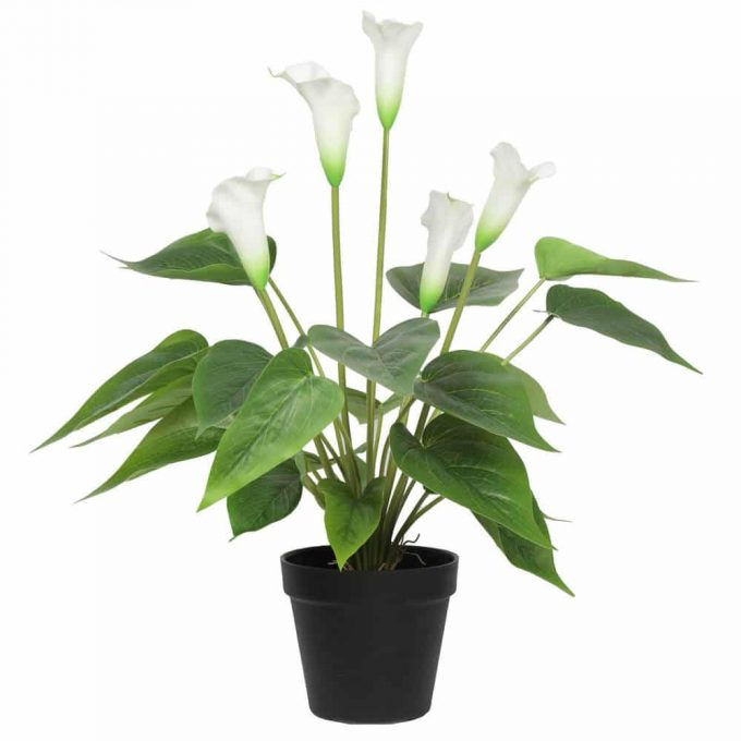 faux peace lily plant in pot