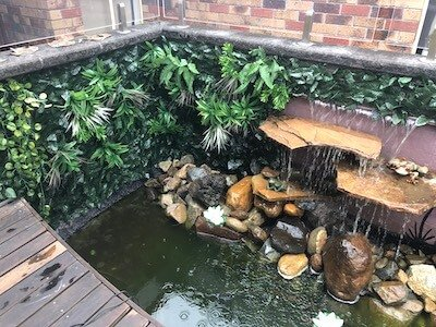 An outdoor pond featuring a selection of rocks is enhanced by an artificial vertical garden along a fence.