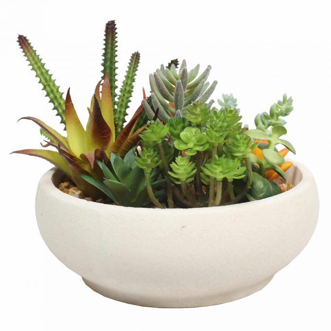artificial potted succulent arrangement