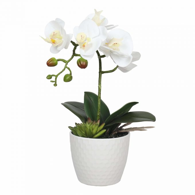 small potted faux orchid with single stem