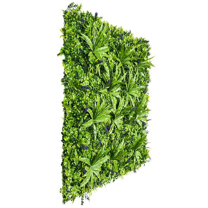 artificial green wall panel with lavender flowers
