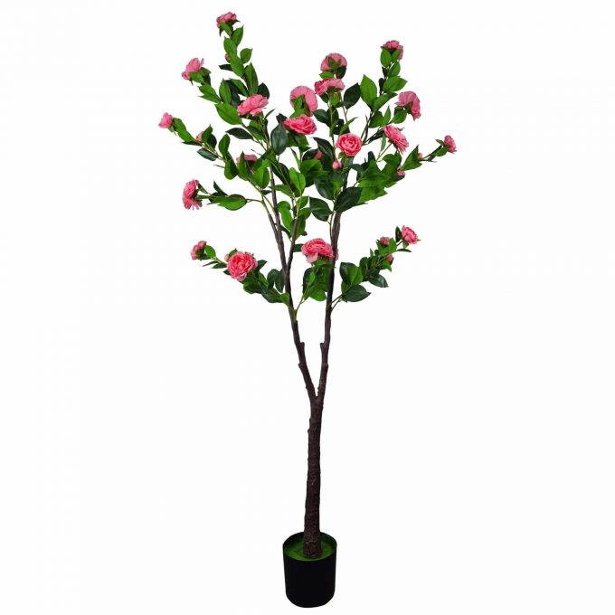 tall fake camellia tree with pink flowers