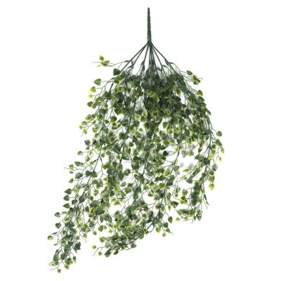 Outdoor Artificial Hanging Plant With Heart Leaf Bush