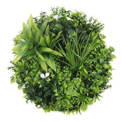 Artificial vertical garden with white flowers