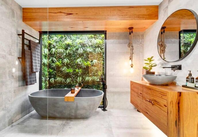 Green Tropics Green Wall Industrial Design Bathroom