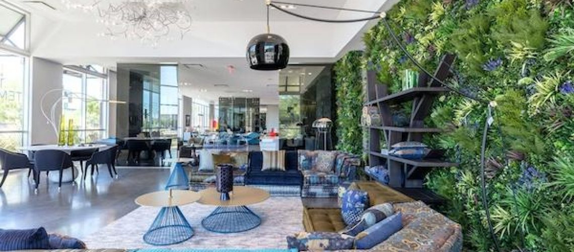 Penthouse with stunning artificial green wall